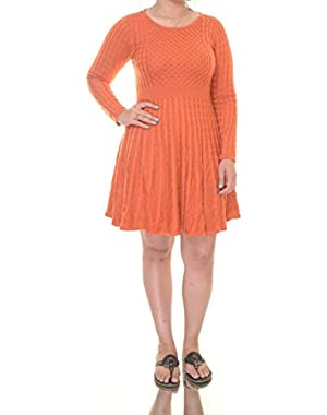 Calvin Klein Women's Medium Cable Knit Sweater Dress Orange M