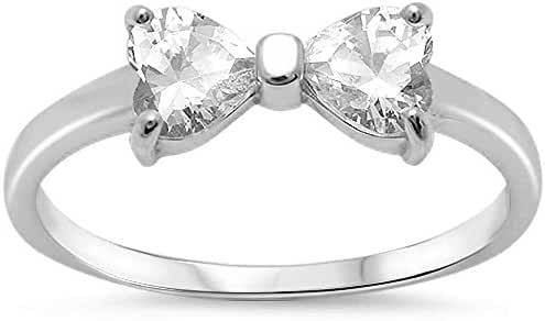 CHOOSE YOUR COLOR Sterling Silver Cubic Zirconia Ribbon Bow Tie Ring (Size 5 - 10)