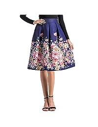 Corsion Faldas de Verano para Mujer, Estilo clásico, básicas, versátiles, elásticas, Acampanadas, Informales, Estampadas