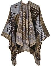 Baugger Fashion Women Shawl Splicing Open Front Soft Comfortable Autumn Winter Cardigan Wrap Poncho