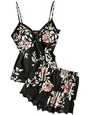 GUzhuha Women Lingerie Sexy Sets, Silky Leaf Print Sleeveless Sleepwear Pajama Set Casual Camisole Tank Top and Shorts