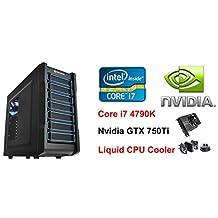 i7 4790K Nvidia GTX 750Ti Graphics Windows 10 Liquid Cooling Computer