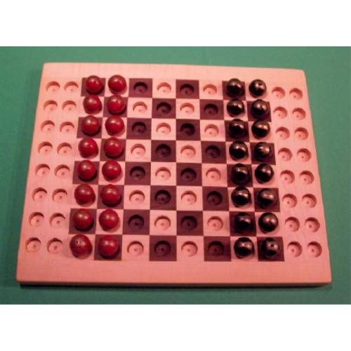 THE PUZZLEMAN TOYS W1929 Wooden Marble Game Board Chess with Glass Marbles