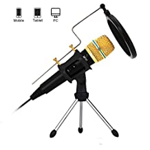 Professional Condenser Microphone Recording with Stand for PC Computer Iphone Phone Android Ipad Podcasting, Online Chatting Mini Microphone by XIAOKOA