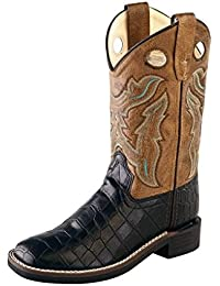 Children Broad Square Toe Black Croco/Light Brown Crackle Cowboy Boot