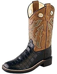 Children Broad Square Toe Black Croco/Light Brown Crackle Cowboy Boot