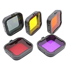 SODIAL(R) 5 pcs/lot Dive Filter Underwater Diving Lens Filter Orange Yellow Red Purple Gray for GoPro Hero 3+ 4