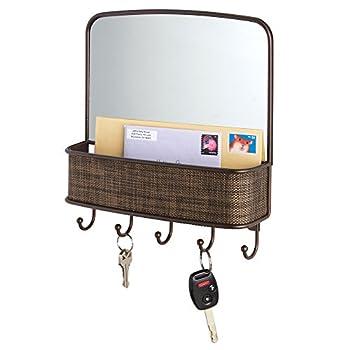InterDesign Twillo Mirror with Mail Holder and Key Rack Organizer for Hallway, Kitchen or Entryway, Bronze