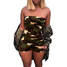 Women Fashion Camouflage Boob Tube Top Jumpsuits Outfits Rompers Shorts Pants Party Jumpers de Mujer Sexy