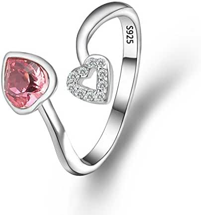 EleQueen 925 Sterling Silver CZ Love Heart Adjustable Cocktail Ring Tourmaline Color Adorned with Swarovski Crystals