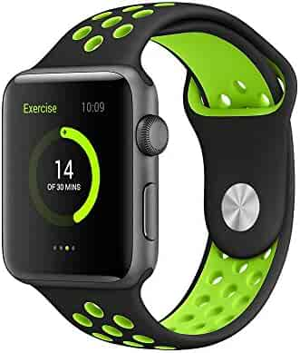 AWSTECH 42mm Soft Silicone Sport Style Replacement Watch band Strap for Apple iWatch Series 1 Series 2 - Black/Fluorescent green