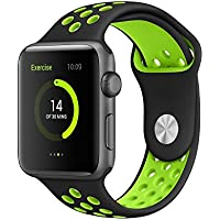 AWSTECH 42mm Soft Silicone Sport Style Replacement Watch band Strap for Apple iWatch Series 1 Series 2 - Black...