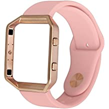 For Fitbit Blaze Band,TOROTOP Small Soft Silicone Replacement Sport Strap Band with Rose Gold Frame for Fitbit Blaze Smart Fitness Watch (Small Pink band with Rose Gold Frame)