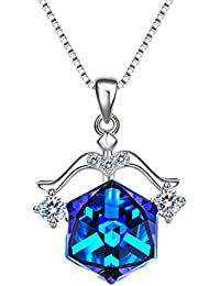 925 Sterling Silver Square Zodiac 12 Constellation Sign Pendant Necklace Blue Made Swarovski Crystals