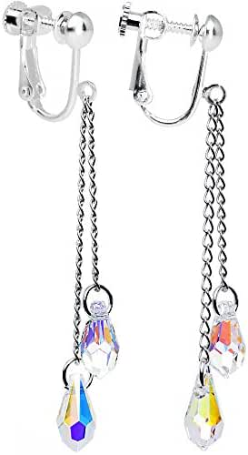 Body Candy Handcrafted Prisma Teardrop Clip On Earrings Created with Swarovski Crystals