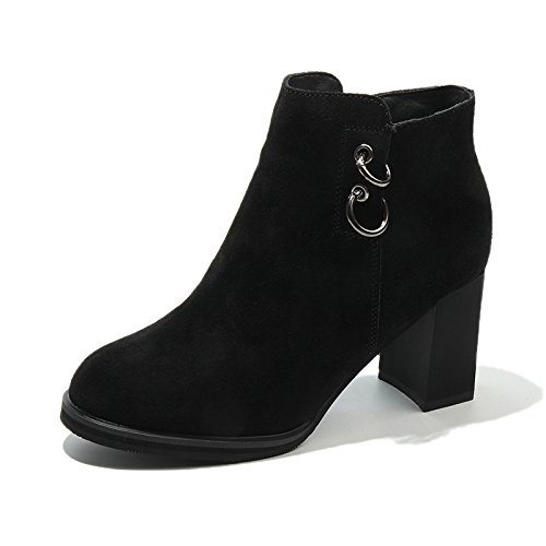 KHSKX-Herbst Und Winter Hochhackige Schuhe Martin Schuhe Britischen Stil Stiefel Schuhe Martin Mit Dicken Spitzen Stiefeln Stiefel b0a1b1