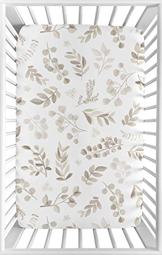 Sweet Jojo Designs Floral Leaf Boy Girl Fitted Mini Crib Sheet Baby Nursery for Portable Crib or Pack and Play – Ivory Cream Beige Taupe White Gender Neutral Boho Watercolor Botanical Flower Woodland