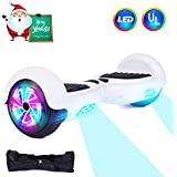CBD 6.5 Inch Wheels Hoverboard Off-Road Smart Self Balancing Electric Scooter with Built-in LED Lights UL2272 Certified (White)