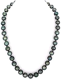 "14K Gold 9-11mm Tahitian South Sea Round Cultured Pearl Necklace - 18"" Princess Length"