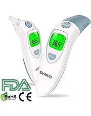 Termómetro Digital Frente y Oído, SVMUU Termómetro Médico Infrarrojo para Bebés, Multifunción 4 en 1, Alarma de Fiebre, Lectura instantánea para niños, adultos y objetos, Certifica CE / ROHS / FDA