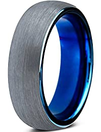 Tungsten Wedding Band Ring 6mm for Men Women Comfort Fit Blue Round Domed Brushed