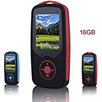 FecPecu Music Player, 16GB Bluetooth MP3 Player, 50 Hours Playback Hi-Fi Sound Portable Audio Player with FM Radio, Expandable Up to 64GB(Red)