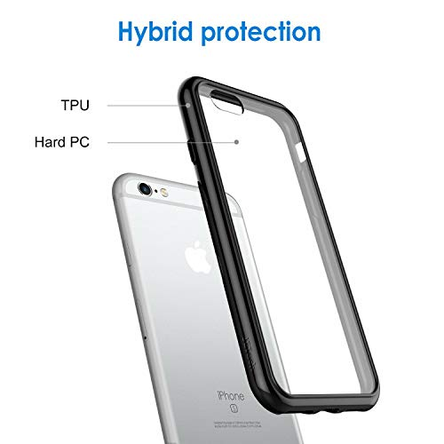 JETech Case for iPhone 6 and iPhone 6s, Shock-Absorption Bumper Cover, Anti-Scratch Clear Back (Black)