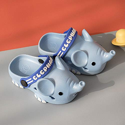 Pinkpaopao Toddler Kids Boys Girls Cartoon Elephant Slides Sandals Quick Dry Beach Pool Massage Slippers Non-Slip Bathroom Shoes (12-15Months, Blue)