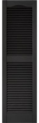 Builders Edge 15 in. x 52 in. Louvered Vinyl Exterior Shutters Pair in #002 Black - 010140052002 - The Home Depot
