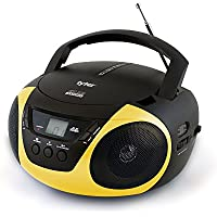 Tyler Portable Sport Stereo CD Player TAU101-YEL with AM/FM Radio and Aux & Headphone Jack Line-In (Yellow)