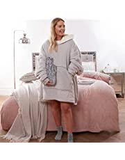 Sienna Hooded Blanket with Ultra Soft Sherpa Lining Warm Cosy Blanket Oversized Thermal Throw Hoodie, One Size Fits All Gift