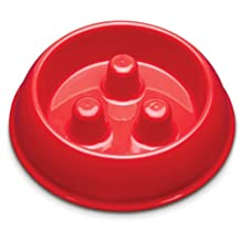 ProSelect Plastic Slow Feeder Dog Bowl, Small, Red