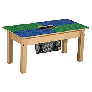 Time-2-Play Lego Compatible Table with Storage in Wood for Kids/Toddlers