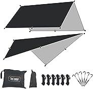Large Waterproof Camping Tarp Shelter Ultralight Hammock Rain Fly Mutifunctional Tent Footprint for Bushcraft