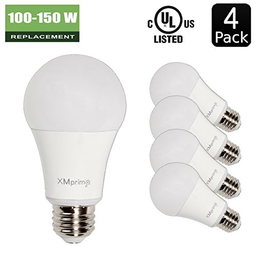 xmprimo 14w 100 150 watt equivalent 4 pack a19 led light bulb 1600 lumens 5000k daylight. Black Bedroom Furniture Sets. Home Design Ideas