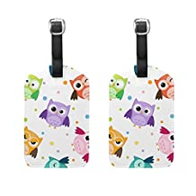 LORVIES Owls Pattern Luggage Tags Travel Labels Tag Name Card Holder for Baggage Suitcase Bag Backpacks, 2 PCS