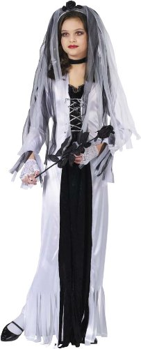 Zombie+Costumes Products : Skeleton Bride Girl Kids Halloween Costume Large