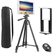 """PEYOU Compatible for iPad iPhone Tripod,62 inch Lightweight Aluminum Phone Camera Tablet Tripod + Wireless Remote + 2 in 1 Mount Holder Compatible for Smartphone (Width 2-3.3""""),Tablet (Width 4.3-7.2"""")"""
