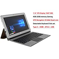 11.6 IPS intel Atom X5 8350 4GB 32GB EMMC 2 in 1 GPS Windows 10 Laptop tablet PC Free Bundle Keyboard Folio set