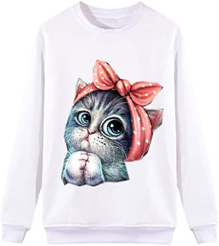 Ultramall Tops Women Casual Cat Print Long Sleeve O-Neck Sweatshirt Pullover Tops Blouse