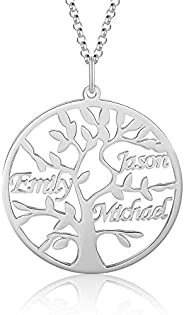 Kaululu Custom Name Necklace for Family with 1-9 Names Engraved Life Tree Pendant Necklace for Women Man Famil