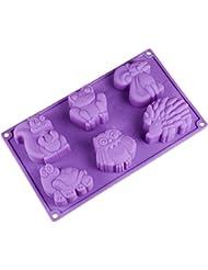 Joyi 6-Cavity Lovely Kangaroo Turtle Frog Hedgehog Silicone Cake Chocolate Soap Decoration Mold Random Color