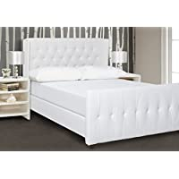 Jennifer Taylor Home David Collection Modern Upholstered King Size Size Bed Frame, Hand Tufted and Nailhead Trim, Antique White