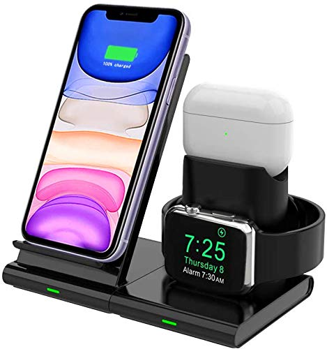 Hoisan Dual Wireless Charger Stand Qi Fast 2 in 1 Charging Station 10W for Samsung S20+//S10//S9//S8//Note 20 Ultra//10//9//8,Galaxy Buds Live//Watch Compatible with iPhone SE//11 Pro Max//XS//XR//8 White