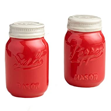 Red Ceramic Mason Jar Salt and Pepper Shaker