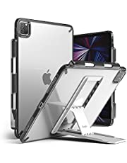 Ringke Fusion with Outstanding [Combo Pack] Back iPad Pro 11 Inch (ALL GEN 2021 2020/2018) Case with Overcharge Protection Pencil Holder, Stand Spring-Action Kickstand -Smoke black (smoke black)