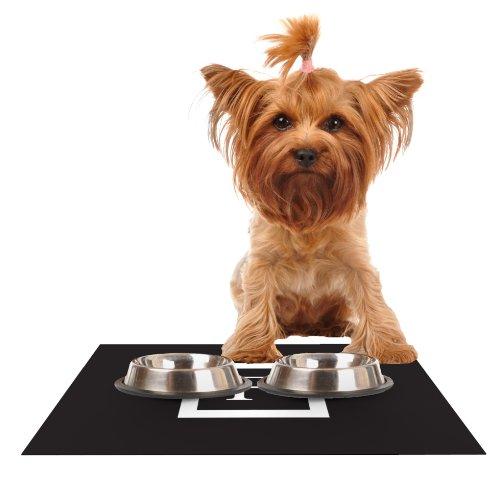 KESS InHouse Kess Original Monogram Solid Black Letter F  Feeding Mat for Pet Bowl, 18 by 13-Inch