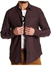 Wine Mens Small Heather Pocket Button Down Shirt Red S