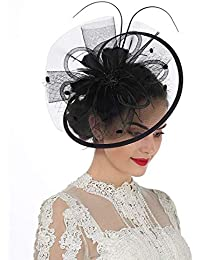 Women Girl Fascinators Hair Clip Hairpin Hat Feather Cocktail Wedding Tea Party Hat
