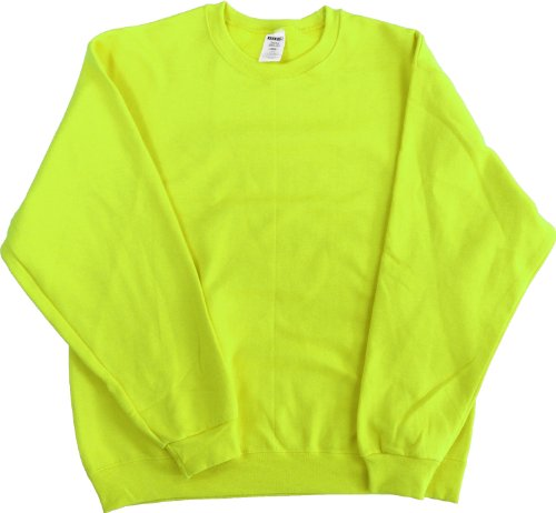 High Visibility Neon Safety Fleece Pullover Crewneck Sweatshirt- Orange or Green